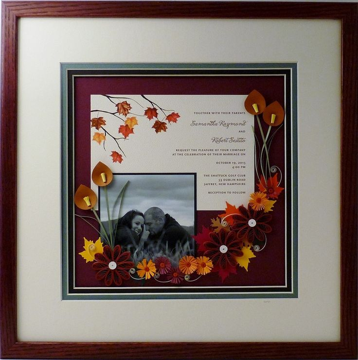 Quilled Wedding Invitation Keepsake Gallery Beautiful Fall Colors And Leaves