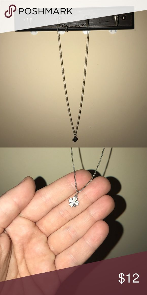 Silver 4-Leaf Clover Necklace Lucky day! Silver four leaf clover necklace! Brandy Melville Jewelry Necklaces