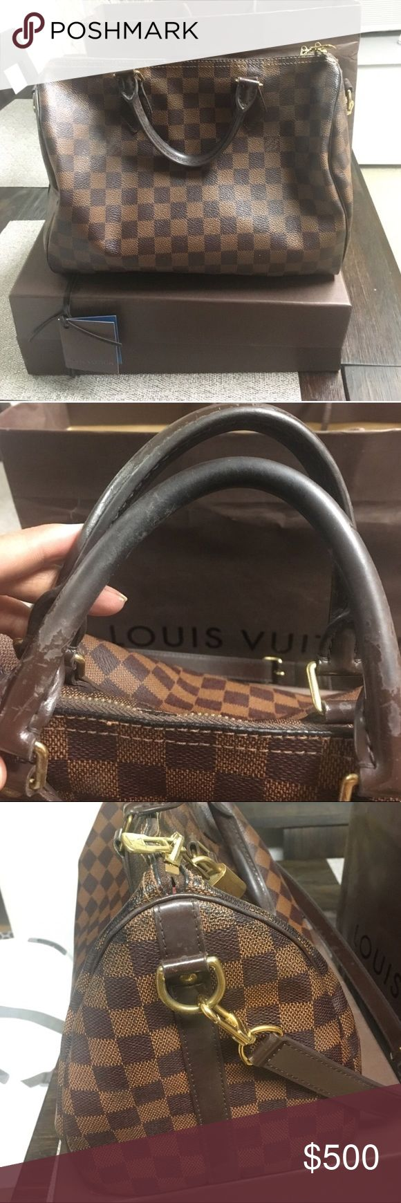 Authentic Louise Vuitton Damien Speedy bag Some peeling on handles. Signs of wear on two bottom corners. Will include long strap, dustbag, box, shopping bag and tag with original price. Louis Vuitton Bags