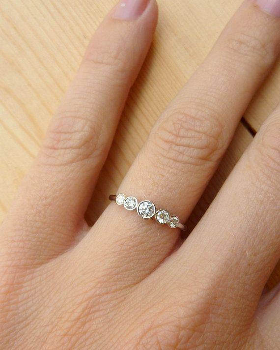 5 Stone Bezel Set Diamond Band Diamond bands Anniversary rings