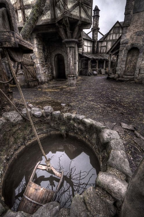 An abandoned town straight from Medieval times Looks like a movie set to Van Helsing