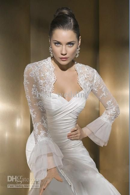 Royal white lace jacket bolero with long sleeves for wedding dresses bridal accessories JC-01