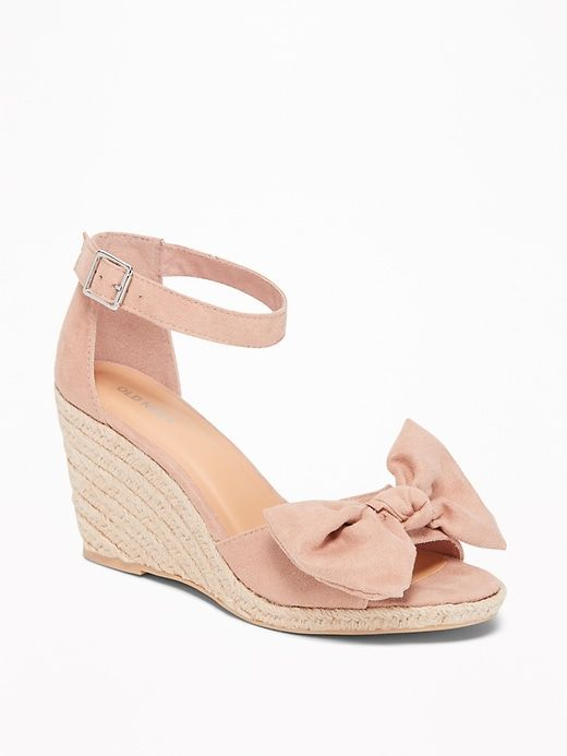 5d553f38b4e Sueded Bow-Tie Espadrille Wedges for Women