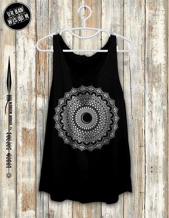 84911d19facbd5 Moon Phase Mandala Yoga Tank Top Shirt Yoga Gifts Yoga Boho Gypsy Soul  Mandala Womens Flowy Yoga Tank Sacred Geometry Goa Festival Clothing ...