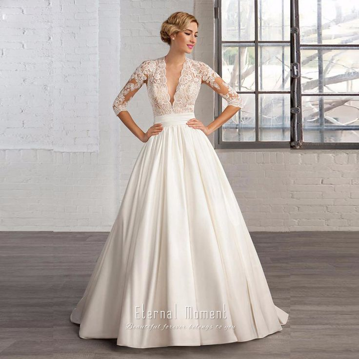Deep V Neck Vintage Wedding Dress Three Quarter Sleeve Floor Length Lace Satin A Line Wedding Gown -in Wedding Dresses from Weddings & Events on Aliexpress.com | Alibaba Group