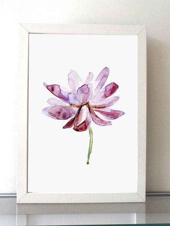 Lotus schilderij  Aquarelle Lotus Bloem  lila paars  door Zendrawing