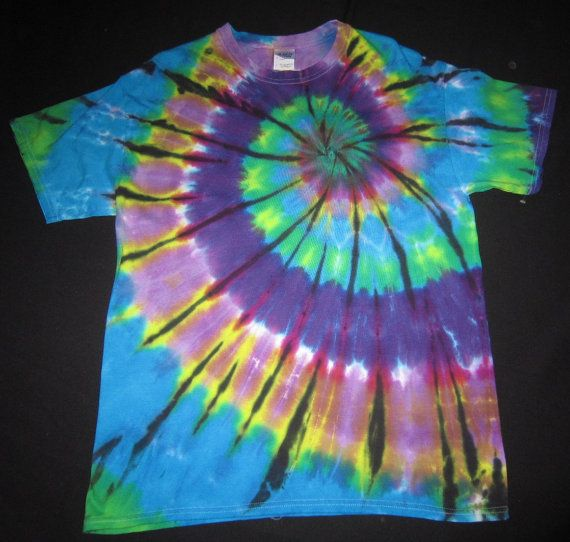 psychedelic spiral tie dye t shirt fits by