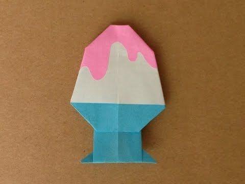 簡単折り紙★ かき氷の折り方 ★夏の飾りに!Origami Shaved ice - YouTube