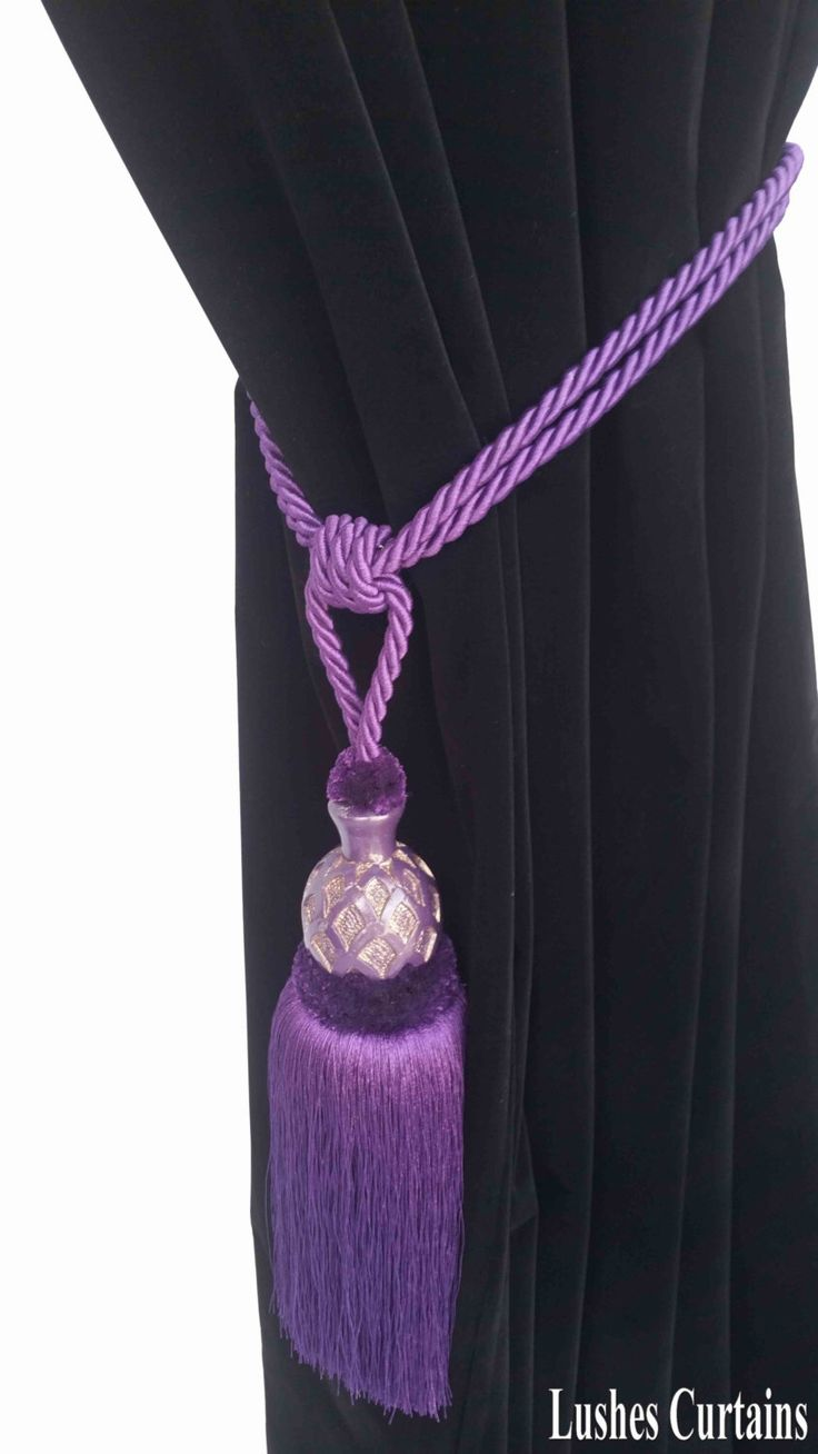 Drapery holdbacks window treatment hardware ebay - Dark Purple Curtain Drapery Decorative Wood Tassel Double Rope Tieback Handmade Chair Decor Window