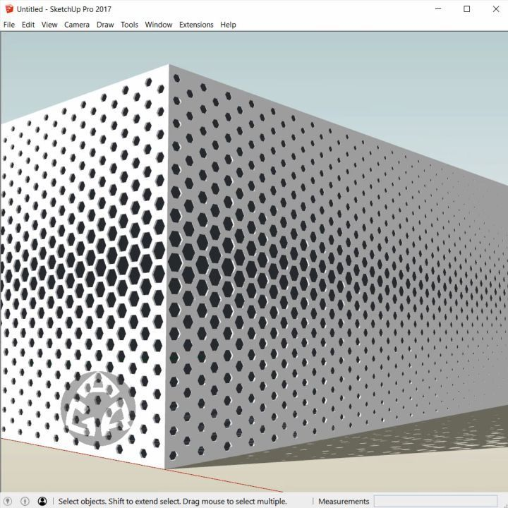 3d modeling the facade of Formstelle, a parametric honeycomb