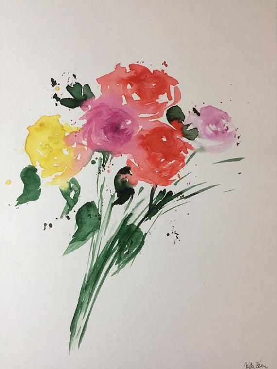 Original Aquarell Watercolor Painting Flowers Picture Watercolor