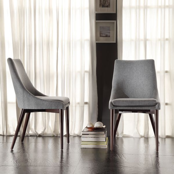 Superior INSPIRE Q Sasha Grey Fabric Upholstered Slope Leg Dining Chairs (Set Of 2)   Good Looking