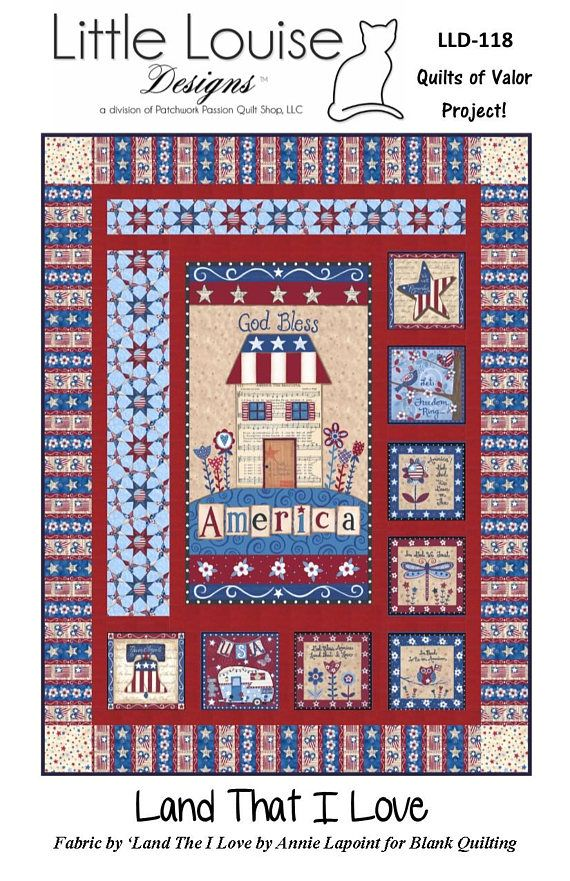 Quilt Pattern  Land The I Love  Quilt of Valor Large Throw