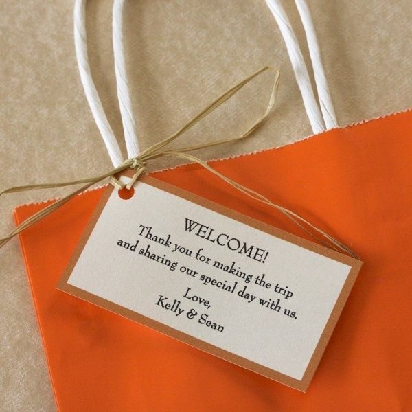 ThanksThese wedding tags are perfect to put on your hotel gift bags to welcome out-of-town guests.  Welcome! Thank you for making the trip and sharing our special day with us. Love, Couples Names.    :: Your choice of color and font  :: Printed on 65# card stock, your choice of White or Ivory  :: All copy can be altered for your needs  :: Each card measures 3.75W X 2