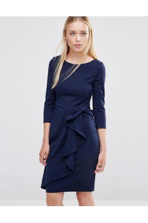 Women Midi Dresses - 3/4 Sleeve Waterfall Peplum Midi Dress