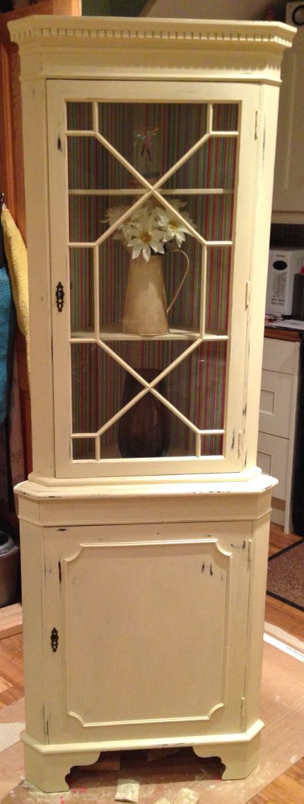 Shabby chic corner unit, cream and candy stripe. By pirates and dragonflies.