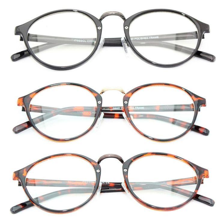 Vintage Retro 60s Round Men's Women's Eye Glasses Clear Lens Black Brown Gold IT #Unbranded #CatEye