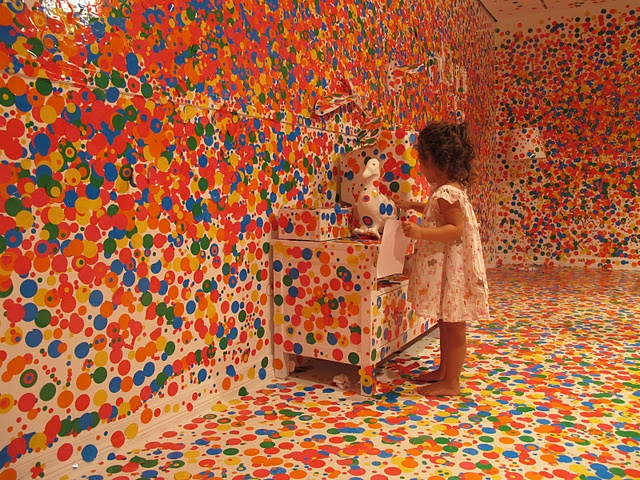 """I wonder why everyone left the duck so lonely"" Twyla, age 3. At Yoyoi Kusama's Look Now, See Forever hands on exhibit at GOMA in Brisbane, Australia. Children and adults were given 100's of stickers to put wherever they choose"
