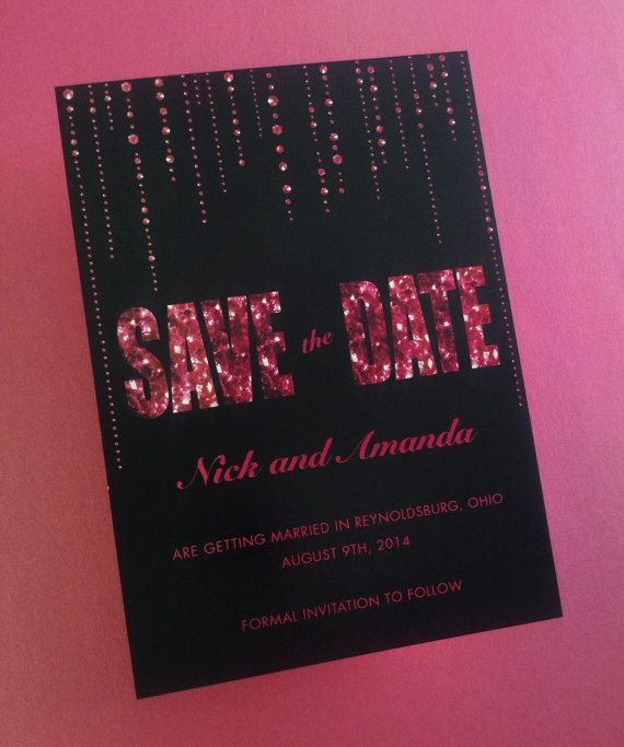 Hot Pink Glitter Save the Dates featuring printed glitter and gems with black background and fuchsia text by dot & bow paperie. #SaveTheDate
