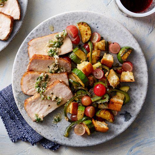 Roasted Pork & Salsa Verde with Summer Squash Panzanella Salad - Katie favorite