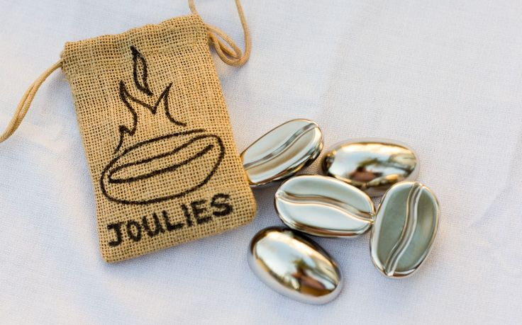 Coffee Joulies!  These amazing little steel beans that absorb excess heat from your too-hot coffee and slowly release it back over time to keep it warm for hours!