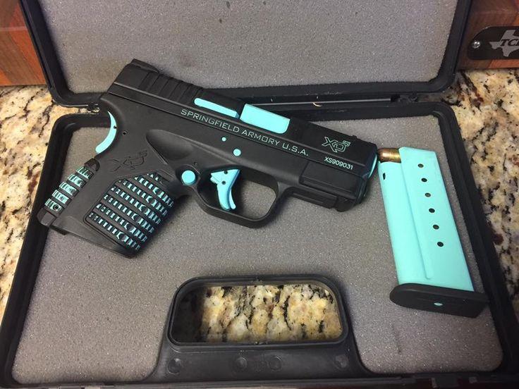 Springfield Armory XD custom coated by IA Coatings, using Robins Egg Blue Cerakote. Love that Tiffanys look. #TeamIA