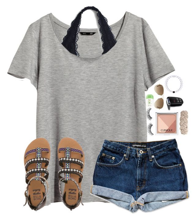 """Going on a 6 hour car trip tomorrow!!"" by lydia-hh ❤ liked on Polyvore featuring H&M, Huda Beauty, Clinique, Dove, Ray-Ban, Billabong, Swell and lydloves"