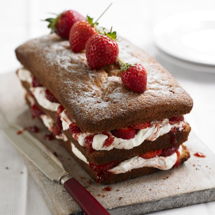 A classic tea time treat with plenty of cream and lots of strawberry jam but this time in the form of a loaf