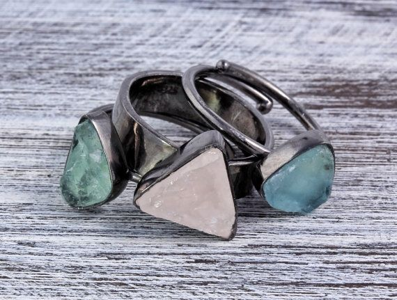 3 Rings Set  3 pcs Raw slice cut Fluorite stone ring in black rhodium plated over sterling silver,hand hammered , sterling silve
