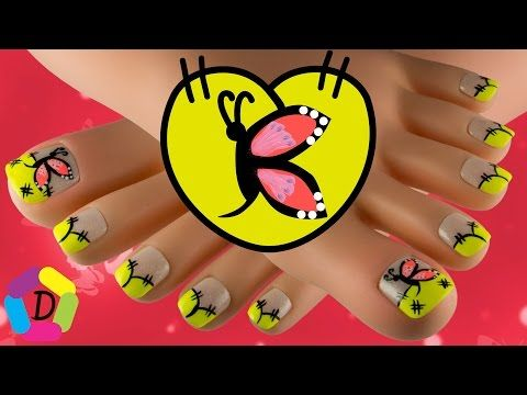 Mariposa en Frances Neon | Decoración de Uñas Pies Fácil | Butterfly on Neon French Foot Nail Art - YouTube
