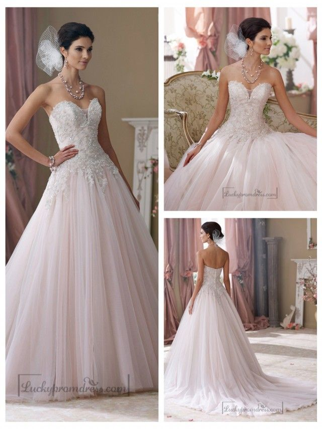 Strapless Hand-beaded Embroidered Sweetheart Ball Gown Wedding Dresses