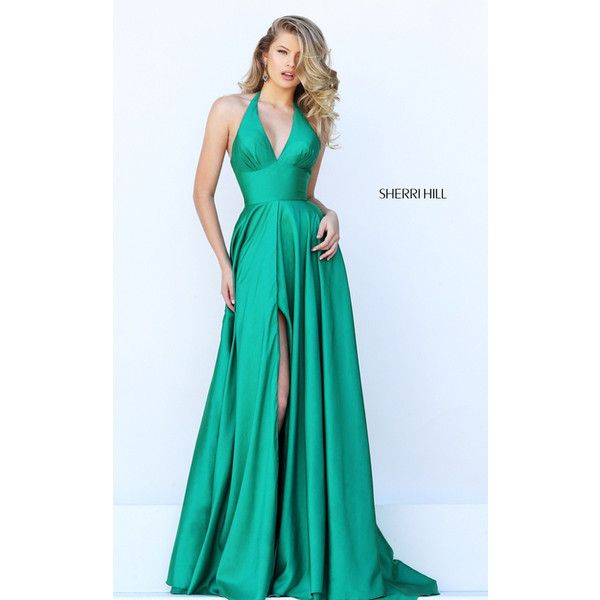 Sherri Hill 50403 Emerald Halter Long Homecoming Dress (320 BAM) ❤ liked on Polyvore featuring dresses, long homecoming dresses, homecoming dresses, emerald dress, long dresses and halter homecoming dresses