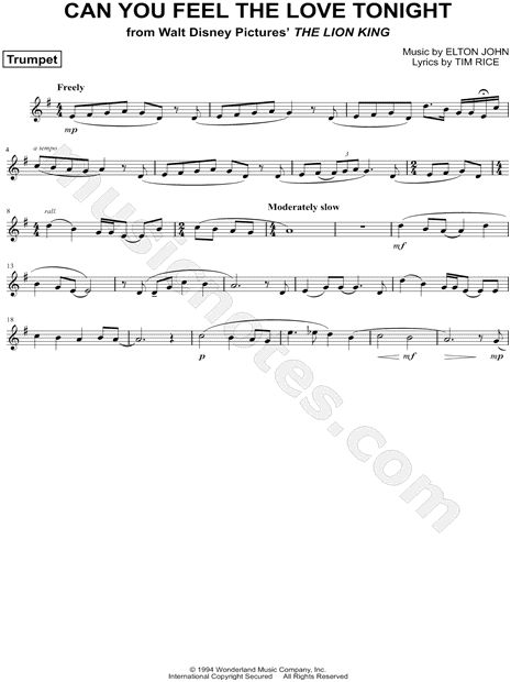 Can You Feel The Love Tonight Trumpet Sheet Music From The Lion