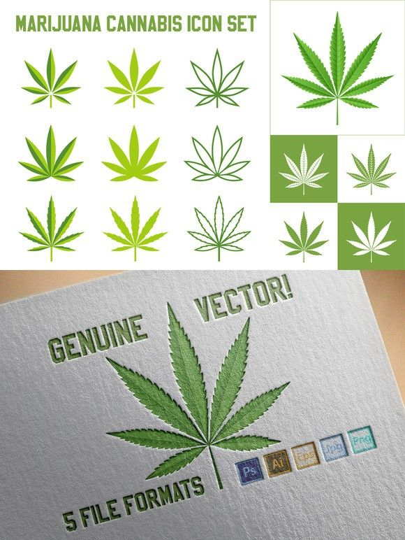 Vector Cannabis Marijuana Icon Set