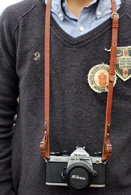 The Roberu Leather SLR Camera Strap for SLR's, and DSLR's. Purchase online via Union ( http://store.unionlosangeles.com/products/leather-slr-camera-strap ) for $128 + shipping.