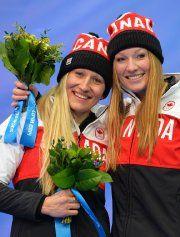 JO Sotchi - 19 février 2014 - Kaillie Humphries et Heather Moyse - Médaille d'Or au Bobsleigh... (Photo Leon Neal, AFP)