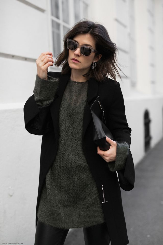 WEARING  &OTHERSTORIES Mohair Knit // IRIS & INK Blazer // MANGO Faux Leather Pants // DESIGNERS REMIX Pouch // OLIVER PEOPLES Shades // PILGRIM Earrings // H&M Mules    For those of us who are not re