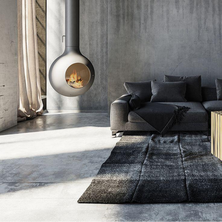 Concrete house   Modern fan, Fireplace mantels, Metallic ...