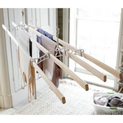 Lakeland Traditional Hanging Indoor Wooden Clothes Airer (Fixings Included)