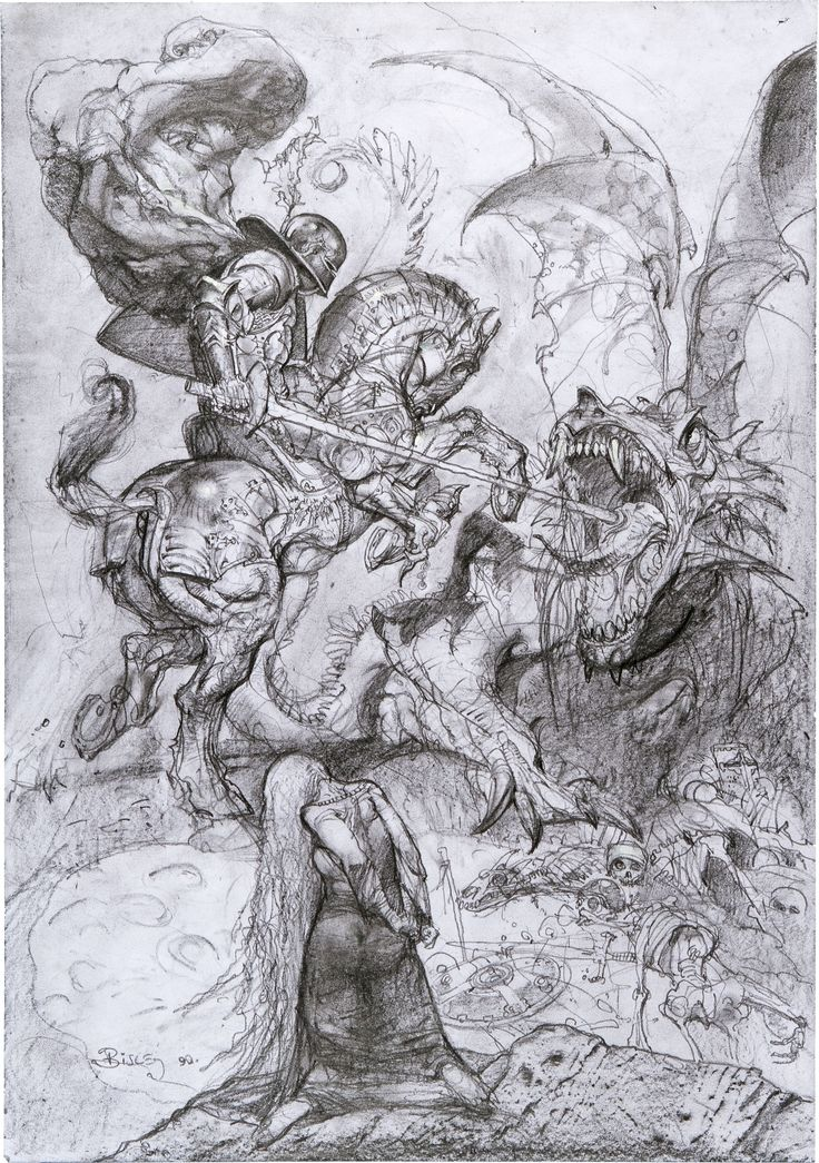"Simon Bisley Saint George and the Dragon Illustration Original Art (2000). The momentus battle betwixt Saint George and the deadly dragon culminates in this ultimate image by Simon Bisley. Rendered in layers of graphite on paper, the work measures 15"" x 21"""