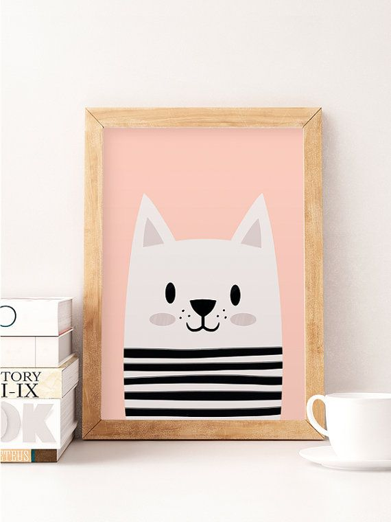 Cute cat, Little cat, Scandinavian nursery, Minimalist nursery, Pink nursery, Pink print, Safari print, Wall decor kids, Kids room art  Printed on Canson 270gsm satin, acid-free paper.  Available sizes:  A4 / 210 x 297 mm / 8.3 x 11.7 in A3 / 297 x 420 mm / 11.7 x 16.5 in A2 / 420 x 594 mm / 16.5 x 23.4 in  All prints are sent in a sturdy cardboard tube with tracking code.  Colors might be slightly different due to different screen color settings.  Frame is not included.   Thank you