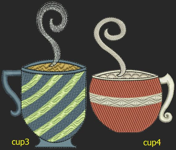 Coffee Cup Designs | Machine Embroidery | Pinterest