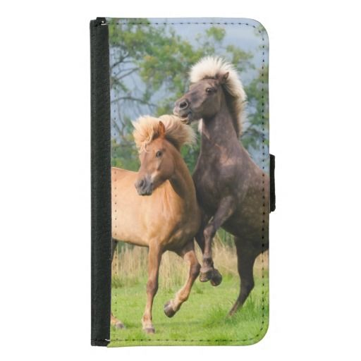 Icelandic horses playing and rearing wallet #case photographed by Katho Menden