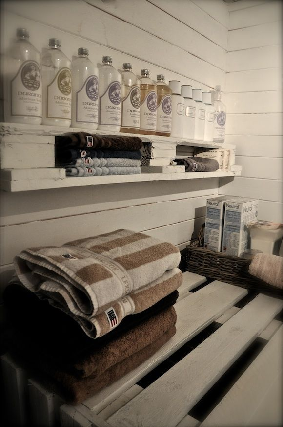 open shelving for laundry room essentials