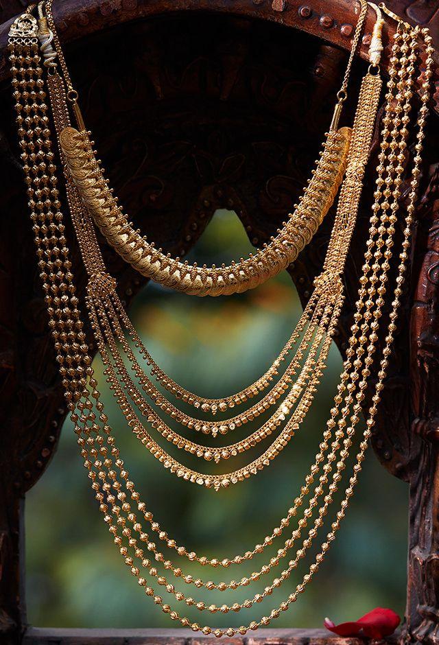 22 Karat Gold Long 4-Lines Necklace | wedding indian accessoris ...