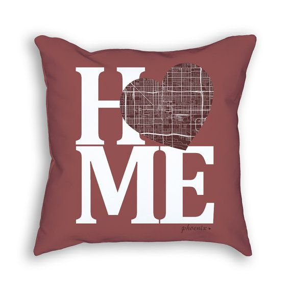 Phoenix Arizona Street Map Home Heart Throw Pillow - Interior Design Decor