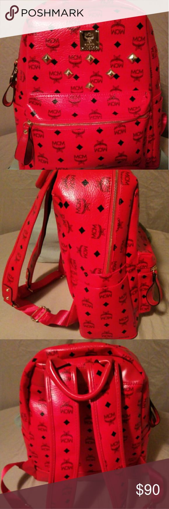 Red MCM Backpack Pre-owned Red MCM Backpack. Size Medium. Backpack is in great condition. MCM Bags Backpacks