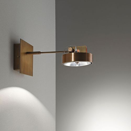 "Adjustable hanging spotlight in burnished brass. Halogen bulb 75 W. Dimensions:  5"" sq. x 10""H. Material:   Burnished brass."