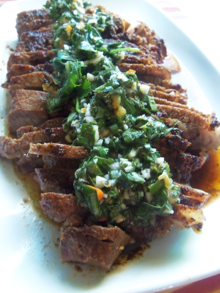 Sirloin Steak with Chimichurri - Hispanic Kitchen @Lissa Laughery you need to follow Hispanic Kitchen..she has some fabulous dishes that we grew up on!!!
