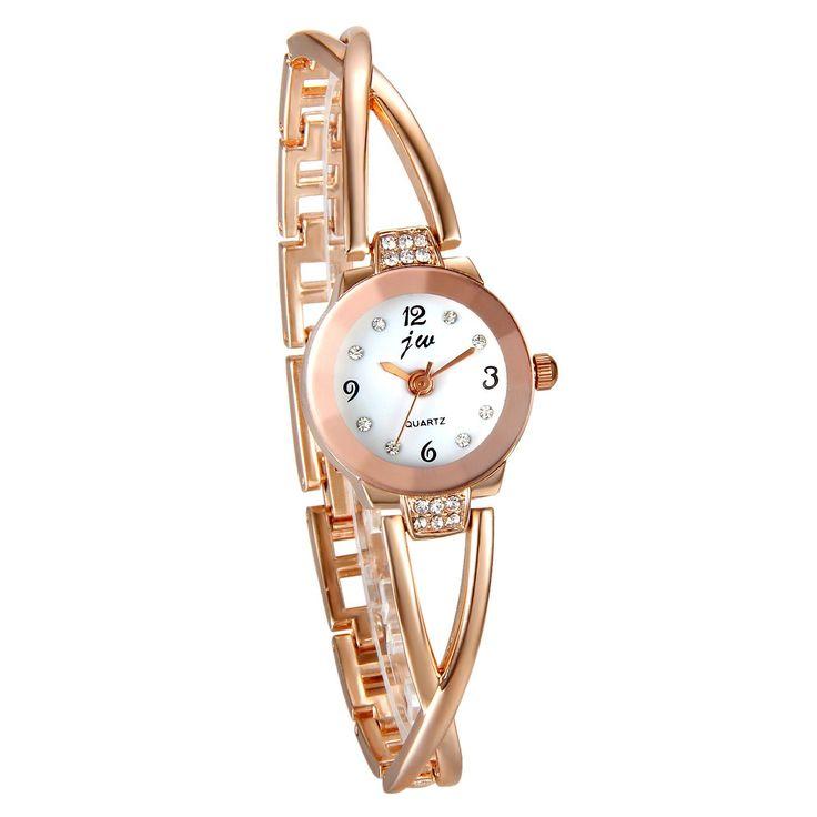 JewelryWe Juego de Pulsera con Reloj Oro Rosa, Moda 2016 Reloj de Diamantes Brillantes Con Pulsera de Números Romanos, Precioso Regalo de Navidad para Chicas Mujeres: Amazon.es: Joyería
